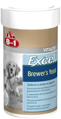 8in1 Excel Brewers Yeast - витаминная добавка пивные дрожжи для собак и котов, 140 таб/100 мл