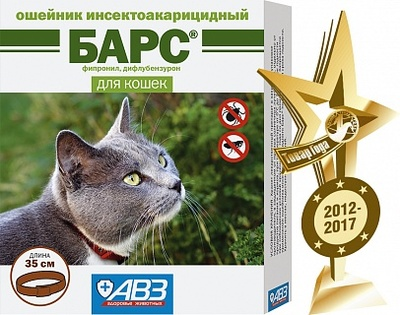 АВЗ Барс - ошейник для котов от блох и клещей, 35 см/4 мес