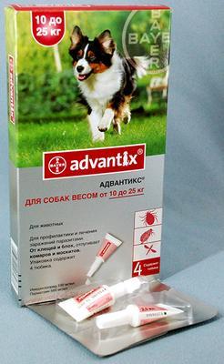 Bayer Advantix (Адвантикс) от блох и клещей у собак 10-25  кг, 1 пипетка (4 в уп.)