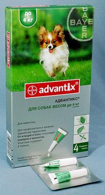 Bayer Advantix (Адвантикс) от блох и клещей у собак до 4  кг, 1 пипетка (4 в уп.)