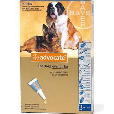 Bayer Advocate (Адвокат) капли на холку от блох у собак более 25 кг, 1 пипетка (3 в уп.)