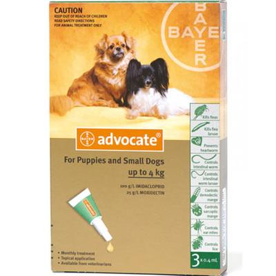 Bayer Advocate (Адвокат) капли на холку от блох у собак до 4 кг, 1 пипетка (3 в уп.)