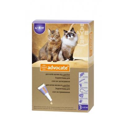 Bayer Advocate (Адвокат) капли на холку от блох у котов 4-8 кг, 1 пипетка (3 в уп.)