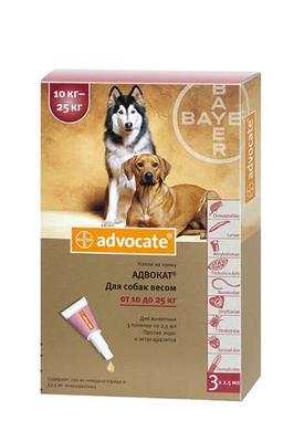 Bayer Advocate (Адвокат) капли на холку от блох у собак 10-25 кг, 1 пипетка (3 в уп.)