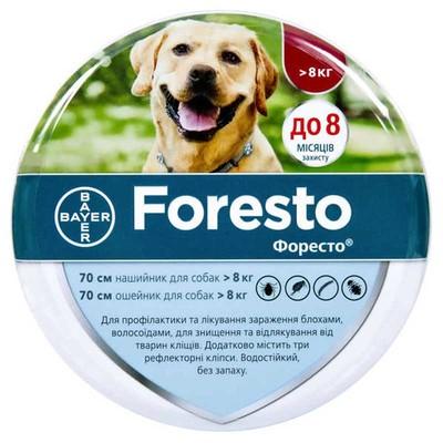 Bayer Foresto ошейник от блох и клещей для собак средних и крупных пород, 70 см
