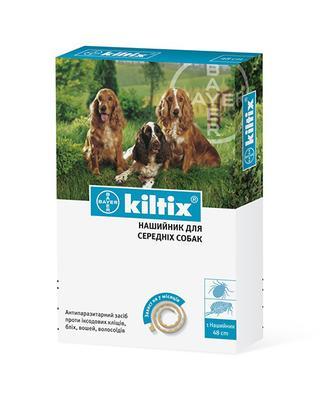Bayer Kiltix Medium ошейник от блох и клещей для собак средних пород, 48 см