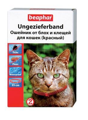 Beaphar ошейник от блох и клещей для котов красный, 35 см