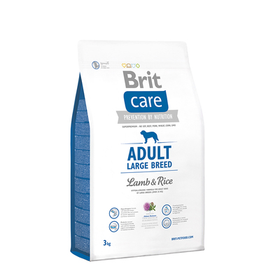 Brit Care Adult Large Breed Lamb and Rice - гипоаллергенный корм для собак весом более 25 кг, 3 кг