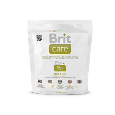 Brit Care Adult Small Breed Lamb and Rice - корм для собак мелких (до 10 кг) пород, 1 кг (развес)