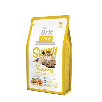Brit Care Cat Sunny I ve Beautiful Hair - корм для кошек, шерсть которых требует дополнительного ухода, лосось и рис, 2 кг