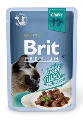 Brit Premium Cat pouch - консерва для котов филе говядины в соусе, 85 г