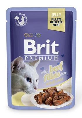 Brit Premium Cat пауч 85 г для котов филе говядины в желе