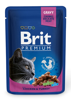 Brit Premium Cat pouch - консерва для котов индейка и курица, 100 г