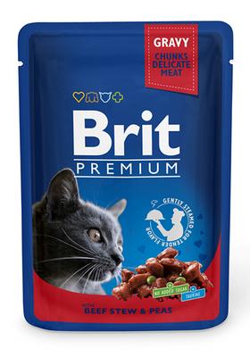 Brit Premium Cat пауч 100 г для котов тушеная говядина и горошек