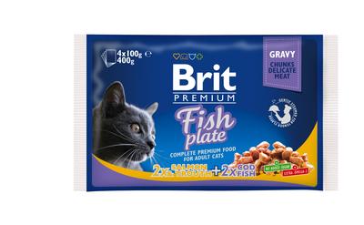 Brit Premium Cat pouch рыбная тарелка - паучи 4х100 г