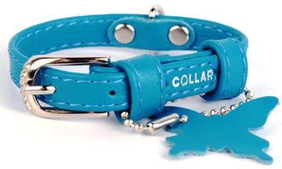 Collar Glamour №32002 ошейник без украшений, голубой 18-21см/9мм