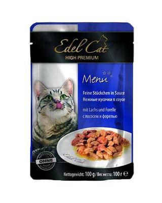 Edel Cat пауч для котов лосось и форель в соусе, 100 г