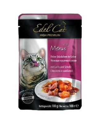 Edel Cat pouch - лосось и камбала в желе, 100 гр, 1000313