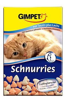 GimCat (Gimpet) Schnurries, витаминные сердечки с добавлением таурина для котов, лосось, 650 шт