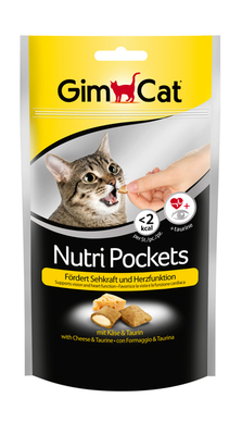 GimCat Nutri Pockets - витамины для кошек с таурином, вкус сыра, 60 гр