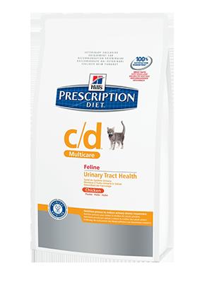 Hill's PD Feline c/d с курицей - профилактика струвитов, оксалатов, лечение циститов 1,5 кг