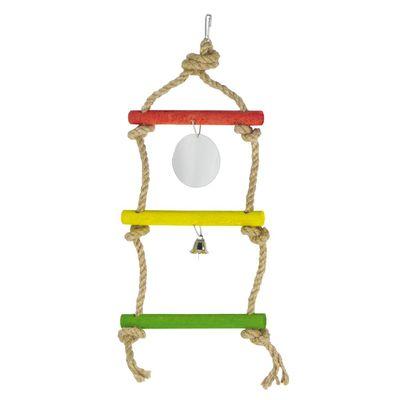 Лори подвеска тройная из сизали для птиц со звонком и зеркалом