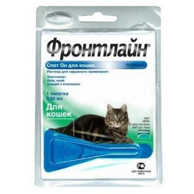 Merial FrontLine (Фронтлайн) Spot On капли на холку от блох и клещей у котов, 1 пипетка СРОК 02.21