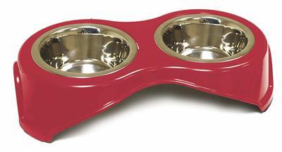 Набор мисок Croci Doppia cat на подставке, диаметр 14 см, подставка 36x18x9 см