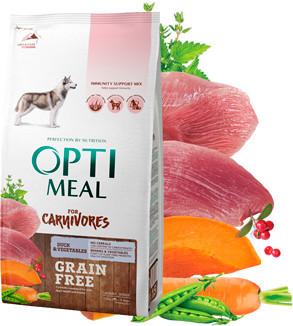 Optimeal беззерновой сухой корм для взрослых собак всех пород, утка и овощи, 100 г (развес)