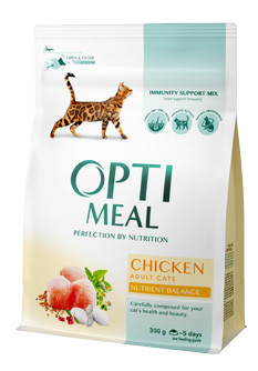 Optimeal сухой корм для взрослых котов, курица, 100 г (развес)