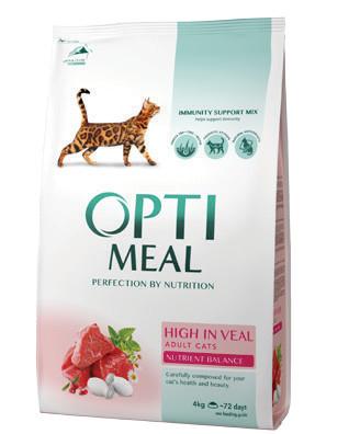 Optimeal сухой корм для взрослых котов с высоким содержанием телятины, развес 100 г