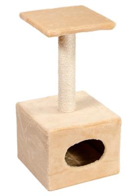 Природа Д1 с будкой - дряпка для котов бежевая