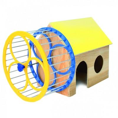 Природа домик с колесом для хомяка
