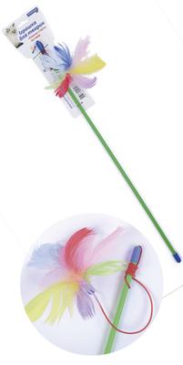 Природа игрушка для кота Палочка с перьями на резинке