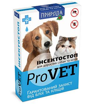 Природа Инсектостоп капли от блох и клещей у взрослых котов и собак, 1 пипетка (6 в уп.)