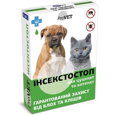 Природа Инсектостоп капли от блох и клещей у щенков и котят, 1 пипетка (6 в уп.)