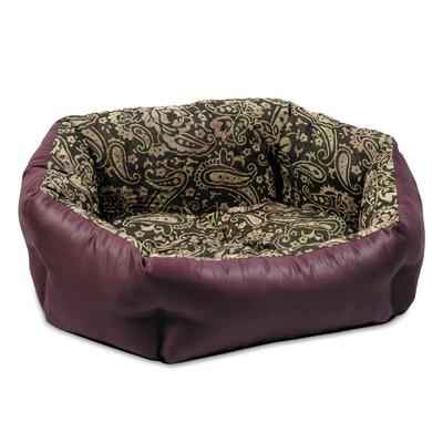 Природа Кокос №1 лежак для собак, цвет орнамент/бордо 48х38х18 см