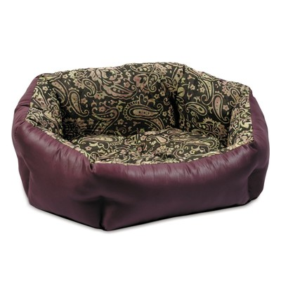 Природа Кокос №2 лежак для собак, цвет орнамент/бордо 54х44х20 см