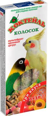 Природа колосок Коктейль для средних попугаев (мультифрукт,орех,цитрус) 90г