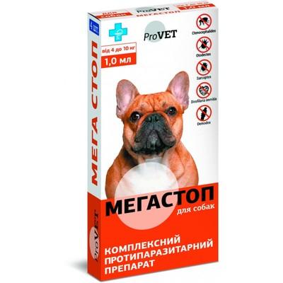 Природа Мега Стоп ProVET комплексный антипаразитарный препарат для собак 4-10 кг, 1 шт (4 в уп.)