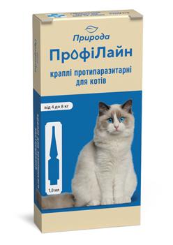 Природа ПрофиЛайн капли на холку против блох и клещей для кошек 4-8 кг, 1 пипетка (4 в уп.)