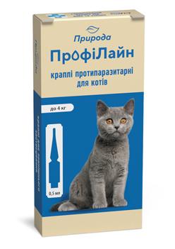 Природа ПрофиЛайн капли на холку против блох и клещей для кошек до 4 кг, 1 пипетка (4 в уп.)