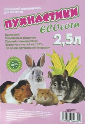 Пушистики EcoCorn кукурузный наполнитель для грызунов, 2.5 литра