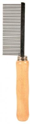 Trixie №2391 - расческа металлическая с деревянной ручкой, средний зуб, 18 см