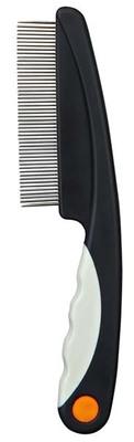 Trixie №2410 - расческа антиблошиная, металлическая, с пластиковой ручкой для котов, 15см