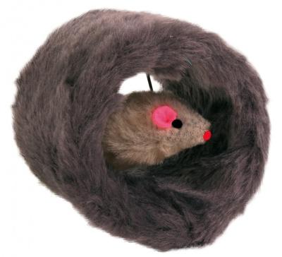 Trixie №4524 - игрушка для кота Мышка в меховом валике, 8 см