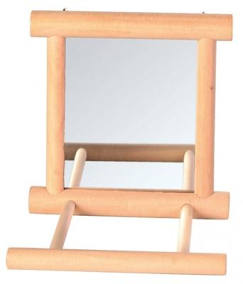 Trixie №5861 - зеркало с деревянной перекладиной для попугая 9х9 см