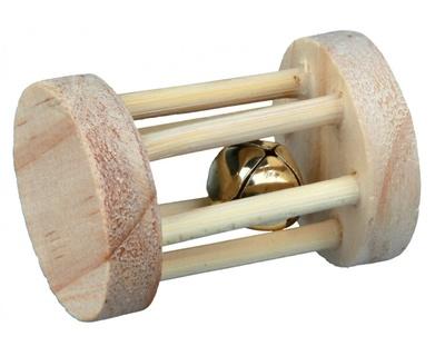 Trixie №6183 - игрушка-валик деревяння для грызунов со звонком 3,5х5 см