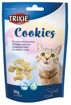 Trixie лакомство для котов Cookies - лосось и кошачья мята, 50гр 42743