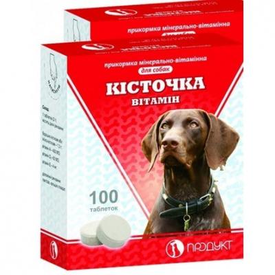 Минерально-витаминная прикормка для собак Косточка Витамин, 100 таб
